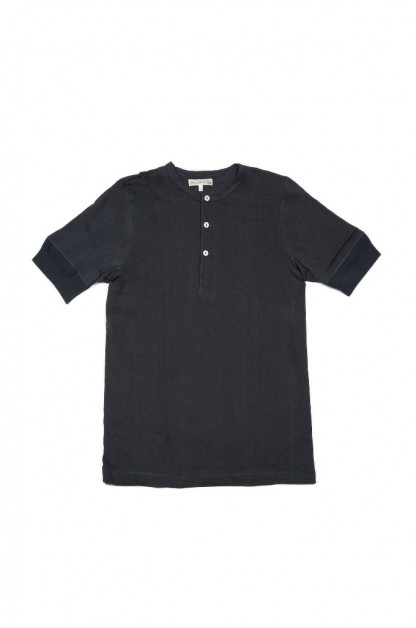 Merz B. Schwanen 2-Thread Heavyweight T-Shirt - Cotton/Hemp Navy Henley