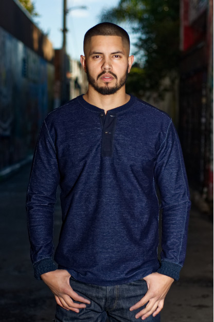Pure Blue Japan Denimish Military Henley T-Shirt