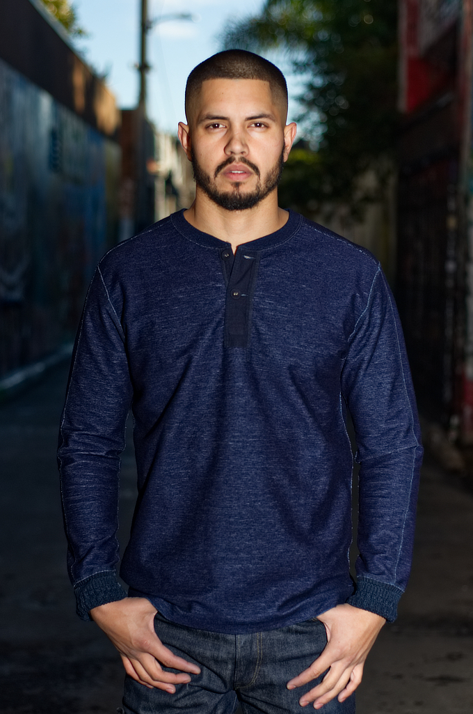 Pure Blue Japan Denimish Military Henley T-Shirt - Image 0