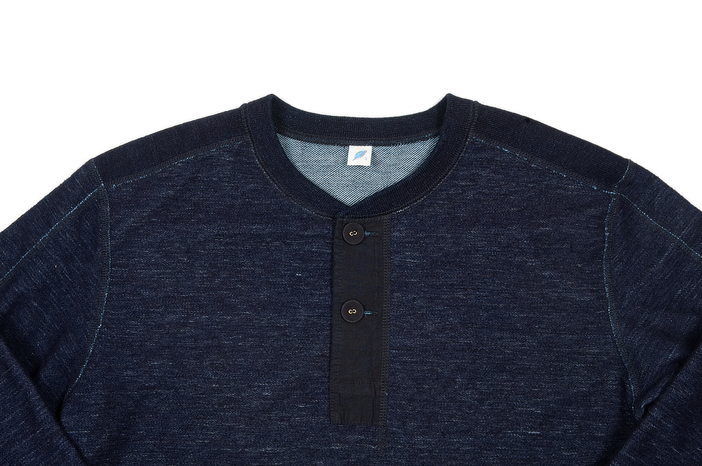 Pure Blue Japan Denimish Military Henley T-Shirt - Image 3