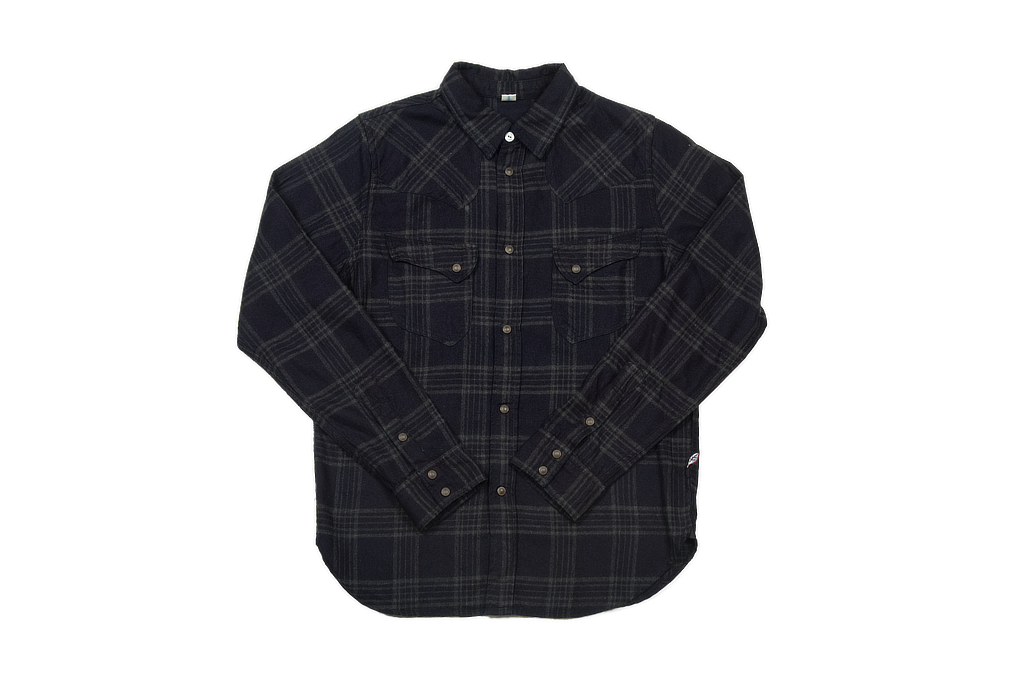 Pure Blue Japan Flannel Shirt - Indigo Check Snap - Image 2
