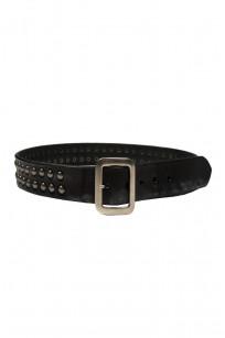 Sugar Cane Cowhide Leather Belt - Black Studded - Image 0