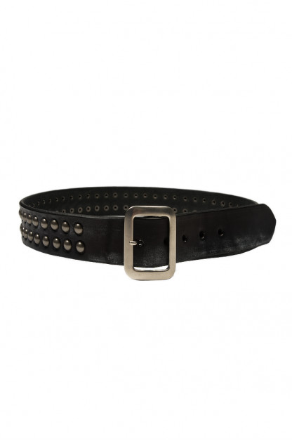 Sugar Cane Cowhide Leather Belt - Black Studded