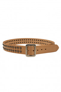 Sugar Cane Cowhide Leather Belt - Tan Studded - Image 0