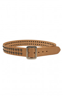 Sugar Cane Cowhide Leather Belt - Tan Studded - Image 0