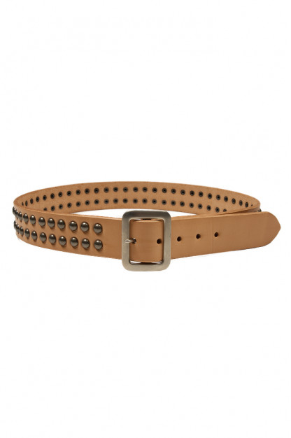 Sugar Cane Cowhide Leather Belt - Tan Studded