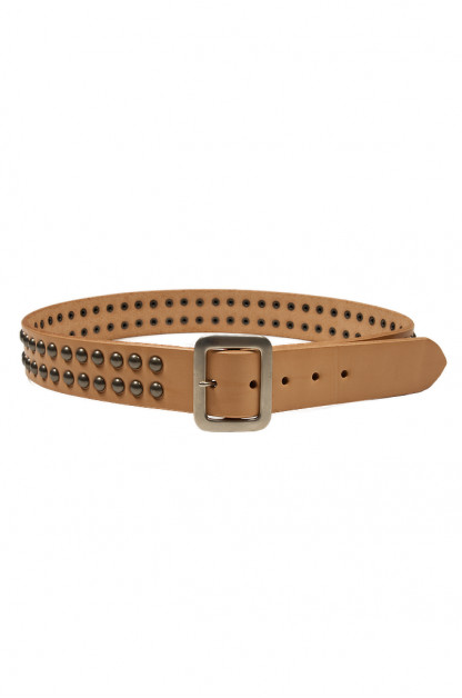 Sugar Cane Cowhide Leather Belt - Tan Studded