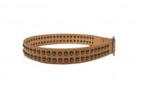 Sugar Cane Cowhide Leather Belt - Tan Studded - Image 1