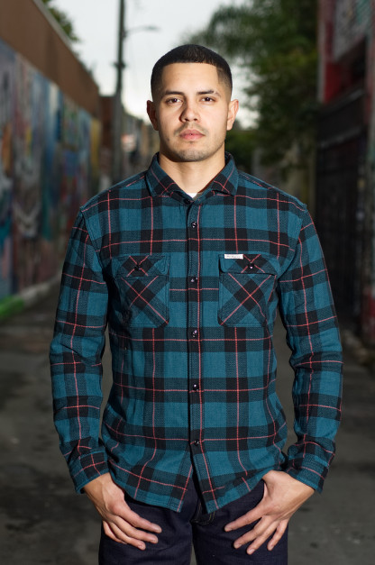 Flat Head Ice Fractal Winter Flannel - Dark Green/Red