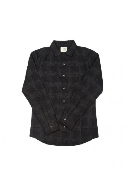 "Nine Lives ""DMT"" Jacquard Check Raglan Shirt - Shadow Country"