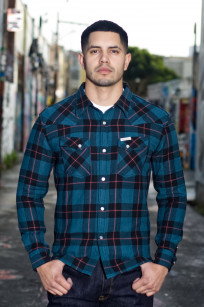 Flat Head Animal Face Winter Flannel - Blue/Green/Red Snap - Image 0