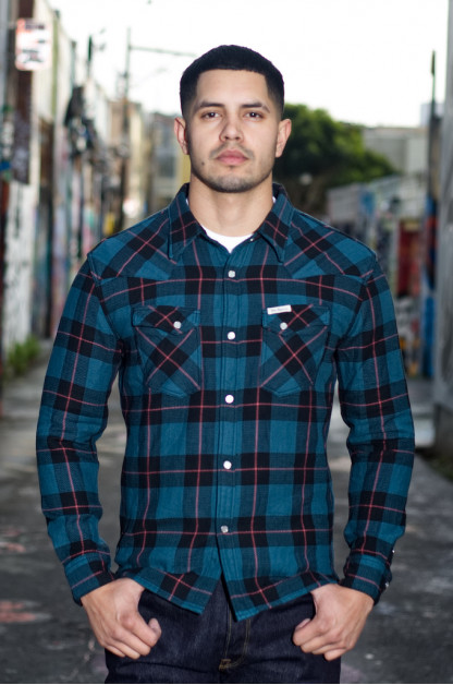 Flat Head Animal Face Winter Flannel - Blue/Green/Red Snap