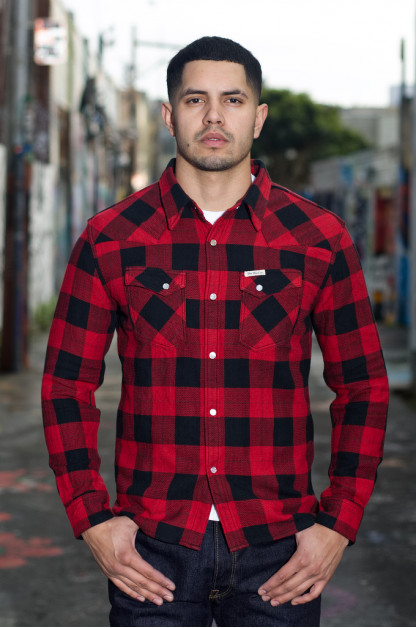 Flat Head Animal Face Winter Flannel - Black/Red Snap