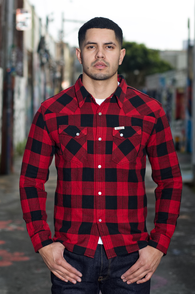 Flat Head Animal Face Winter Flannel - Black/Red Snap - Image 0