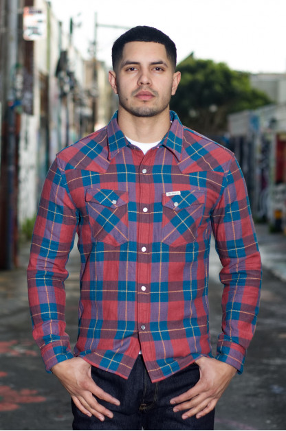 Flat Head Animal Face Winter Flannel - Turquoise/Wine Snap