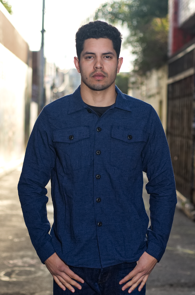 3sixteen Fatigue Over Shirt - Navy Slub Linen - Image 0