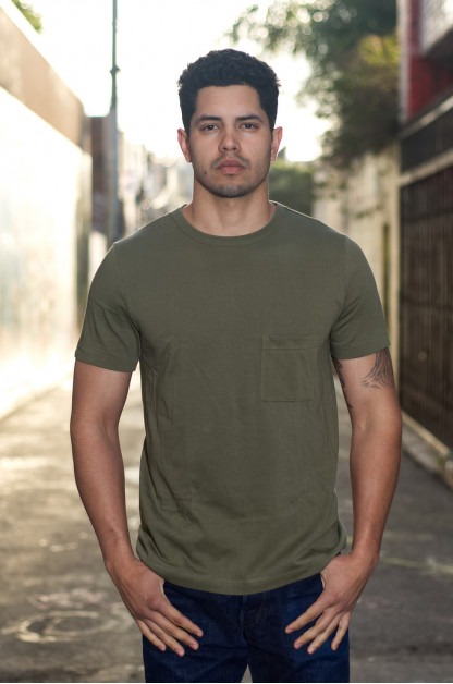 Merz B. Schwanen 2-Thread Heavy Weight T-Shirt - Army Green Pocket