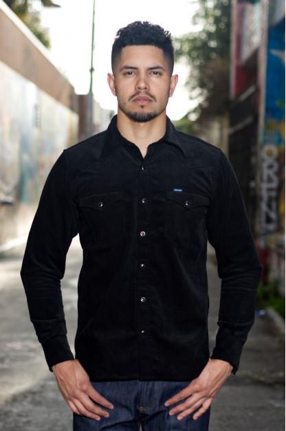 Iron Heart Selvedge Corduroy Snap Shirt - Black
