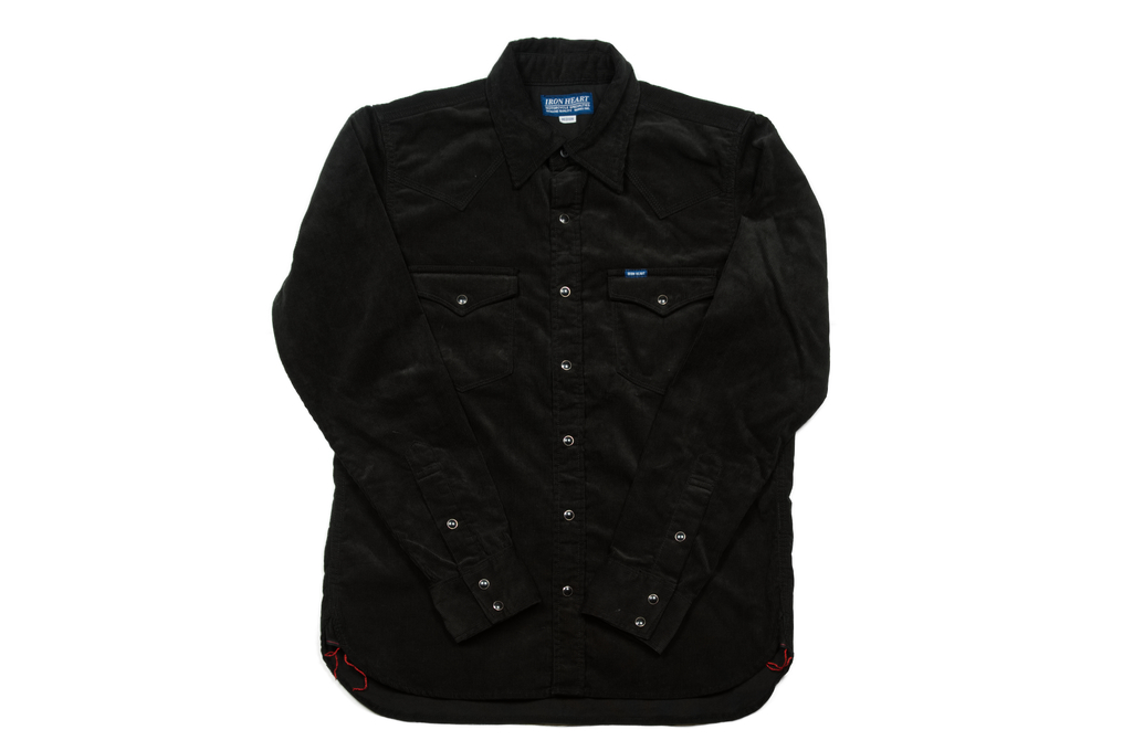 Iron Heart Selvedge Corduroy Snap Shirt - Black - Image 2