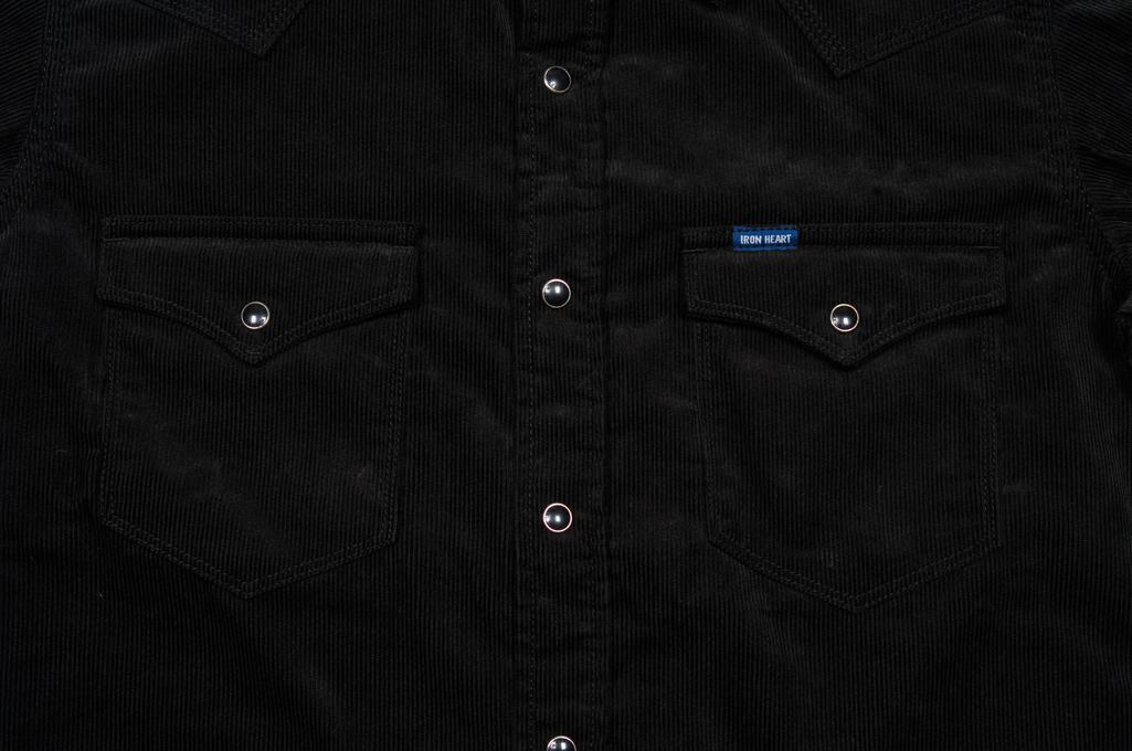 Iron Heart Selvedge Corduroy Snap Shirt - Black - Image 4