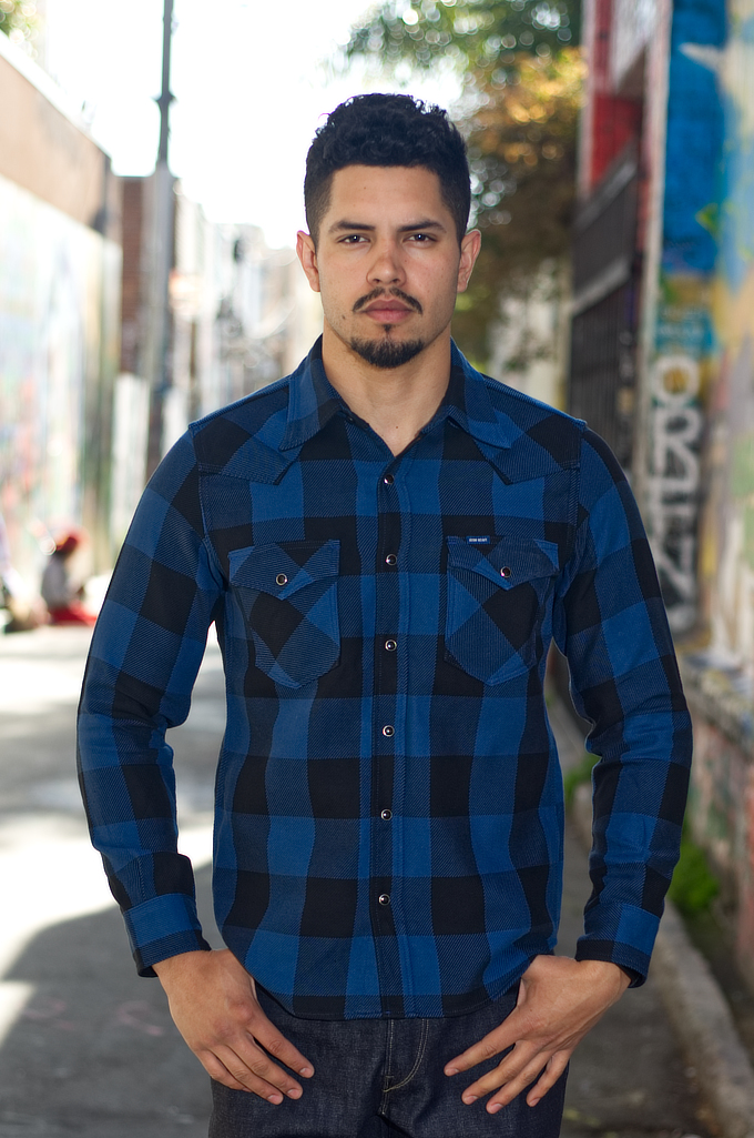 Iron Heart 10oz Flannel Snap Shirt - Indigo Check - Image 0