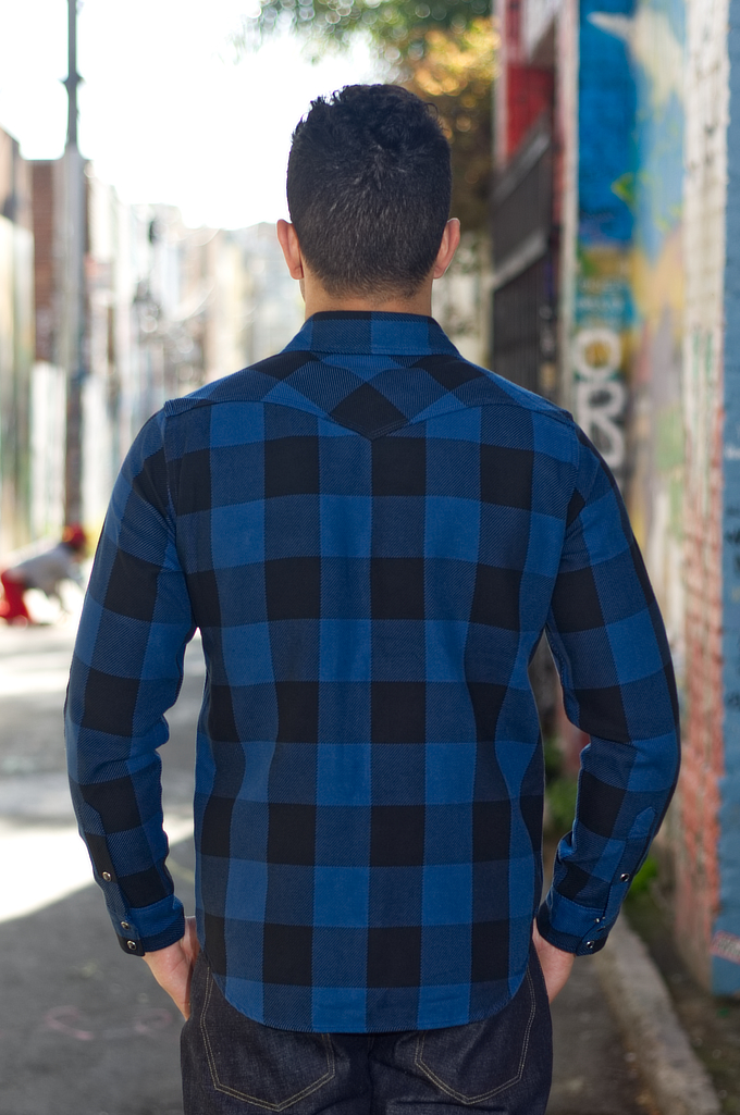 Iron Heart 10oz Flannel Snap Shirt - Indigo Check - Image 1