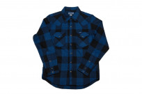 Iron Heart 10oz Flannel Snap Shirt - Indigo Check - Image 2