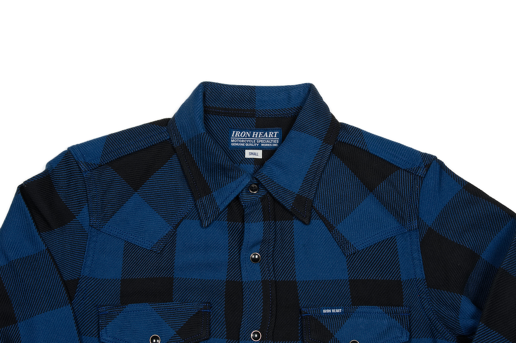 Iron Heart 10oz Flannel Snap Shirt - Indigo Check - Image 3