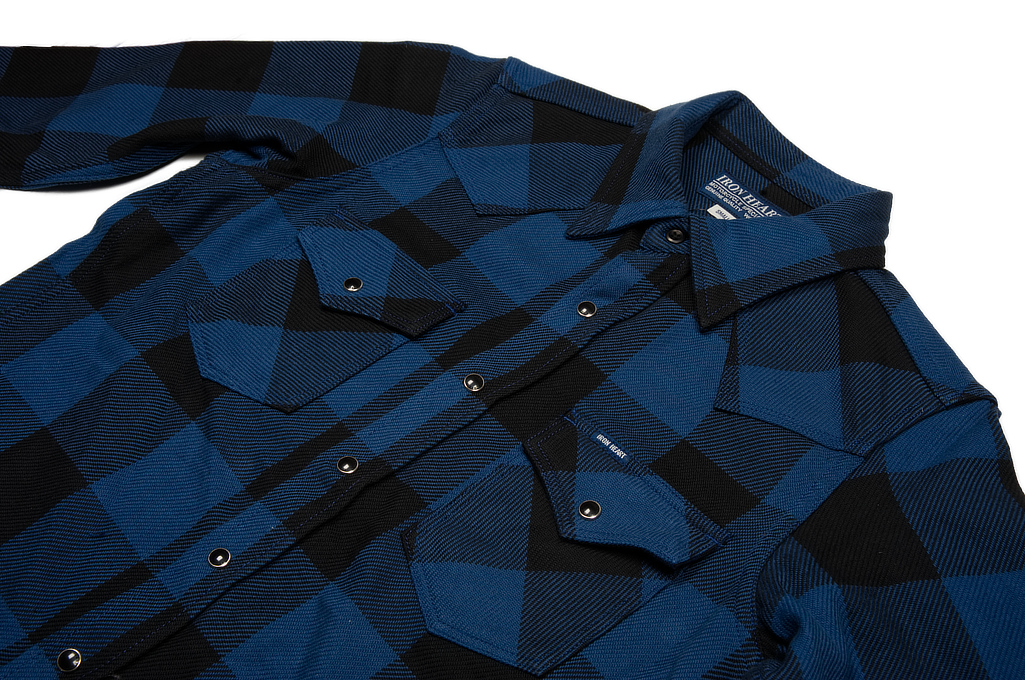 Iron Heart 10oz Flannel Snap Shirt - Indigo Check - Image 4