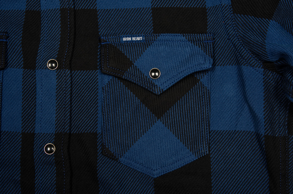 Iron Heart 10oz Flannel Snap Shirt - Indigo Check - Image 5