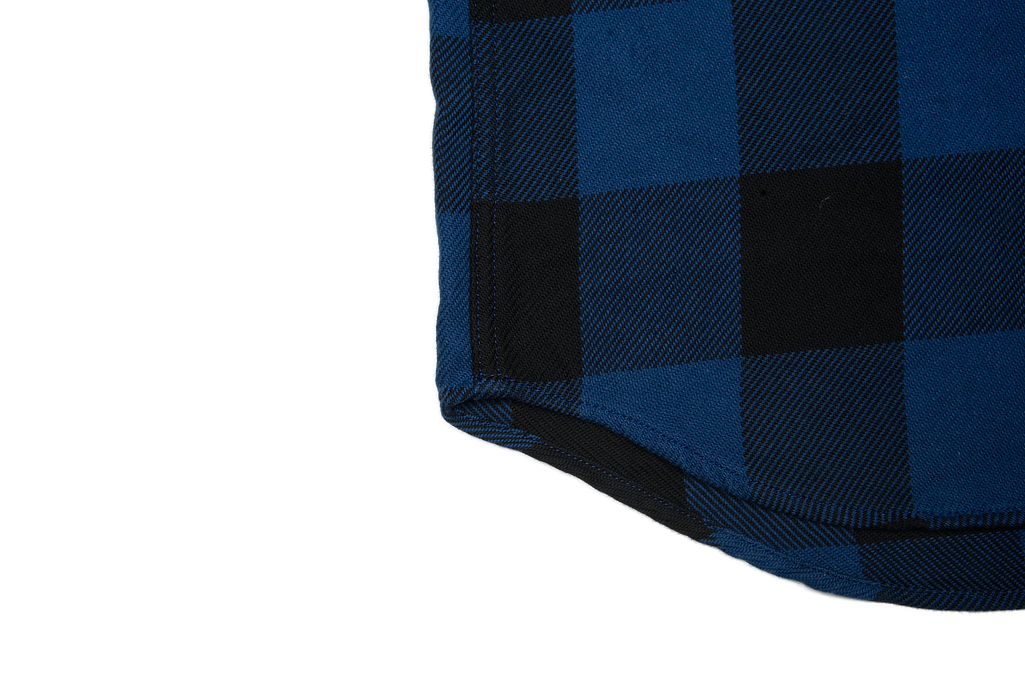 Iron Heart 10oz Flannel Snap Shirt - Indigo Check - Image 6