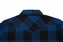 Iron Heart 10oz Flannel Snap Shirt - Indigo Check - Image 8