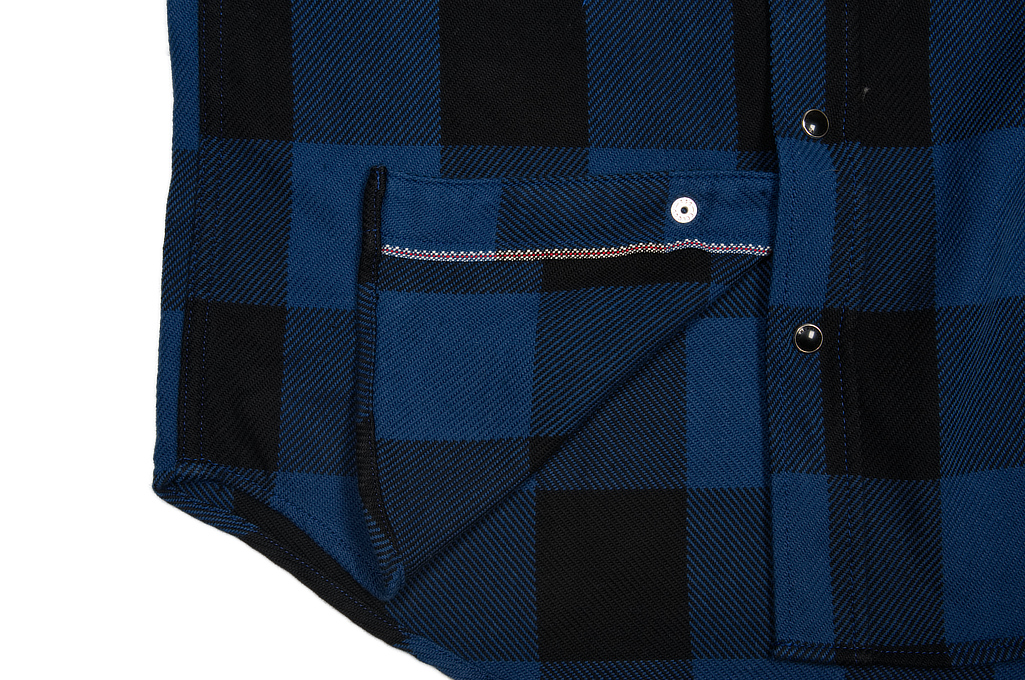 Iron Heart 10oz Flannel Snap Shirt - Indigo Check - Image 9