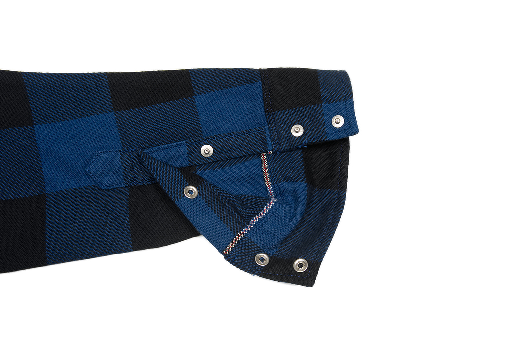 Iron Heart 10oz Flannel Snap Shirt - Indigo Check - Image 10