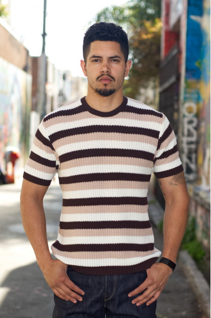 Stevenson Endless Drop Summer Knit Shirt - Brown/Peach