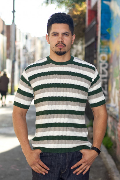 Stevenson Endless Drop Summer Knit Shirt - Green/Gray