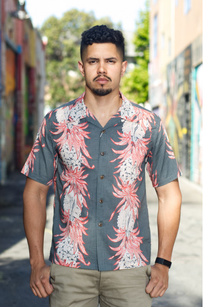 Sun Surf Pineapple Chain Linen Blend Shirt