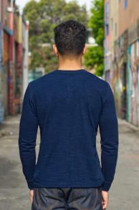 Pure Blue Japan Long Sleeve Henley - Flat Seam Slub Jersey - Image 1