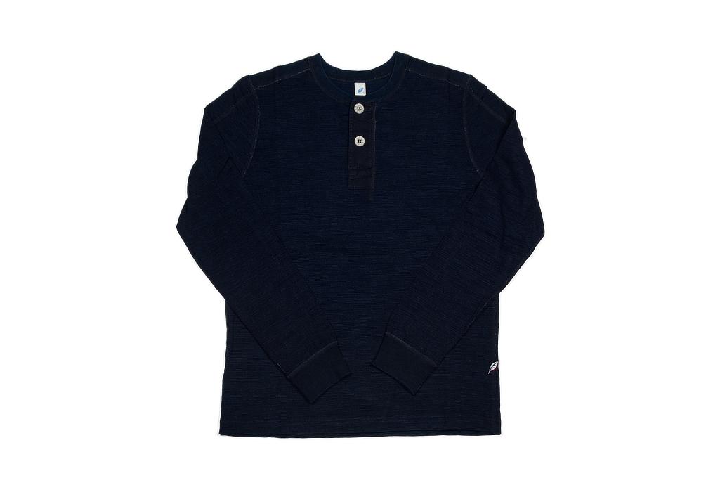 Pure Blue Japan Long Sleeve Henley - Flat Seam Slub Jersey - Image 2
