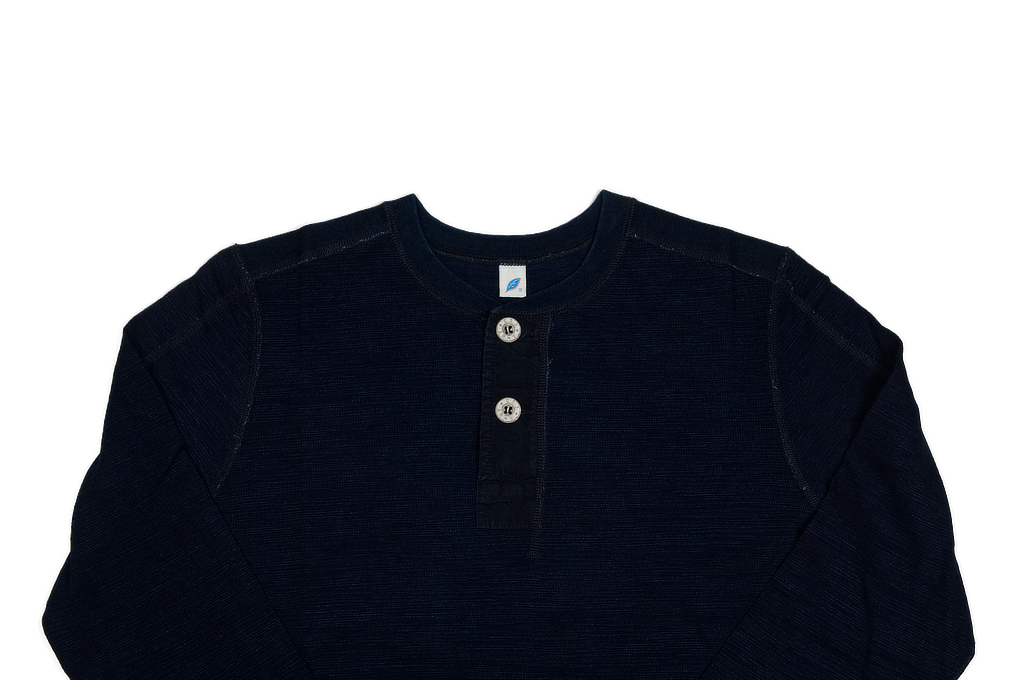 Pure Blue Japan Long Sleeve Henley - Flat Seam Slub Jersey - Image 3