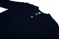 Pure Blue Japan Long Sleeve Henley - Flat Seam Slub Jersey - Image 6