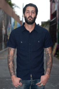 Flat Head Glory Park Indigo-Dyed Linen Short Sleeve - Image 0