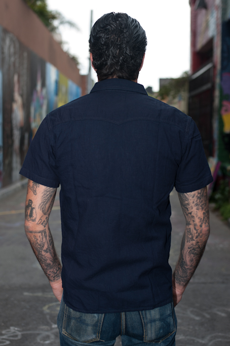 Flat Head Glory Park Indigo-Dyed Linen Short Sleeve - Image 1
