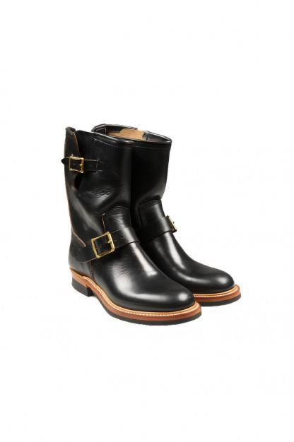Flat Head Goodyear Welted Engineer Boots - Black Chromexcel