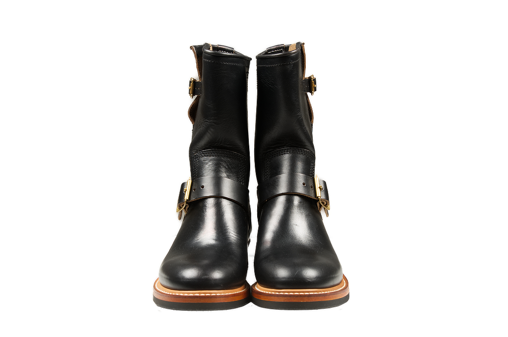 Flat Head Goodyear Welted Engineer Boots - Black Chromexcel - Image 1