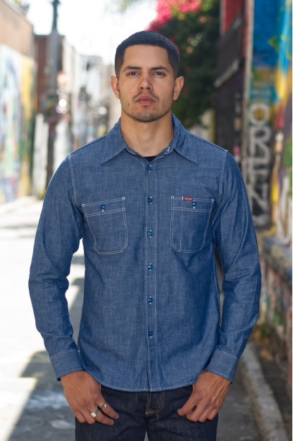 Iron Heart Chambray Shirt - 6oz Natural Indigo / Organic Cotton Workshirt