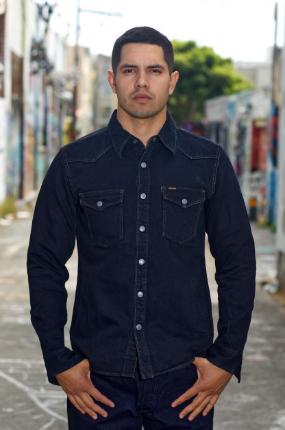 Iron Heart 18oz Denim CPO Shirt w/ Hand Pockets - Overdyed