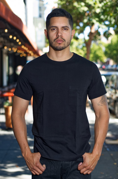Merz. B Schwanen 2-Thread Heavy Weight T-Shirt - Deep Black Pocket