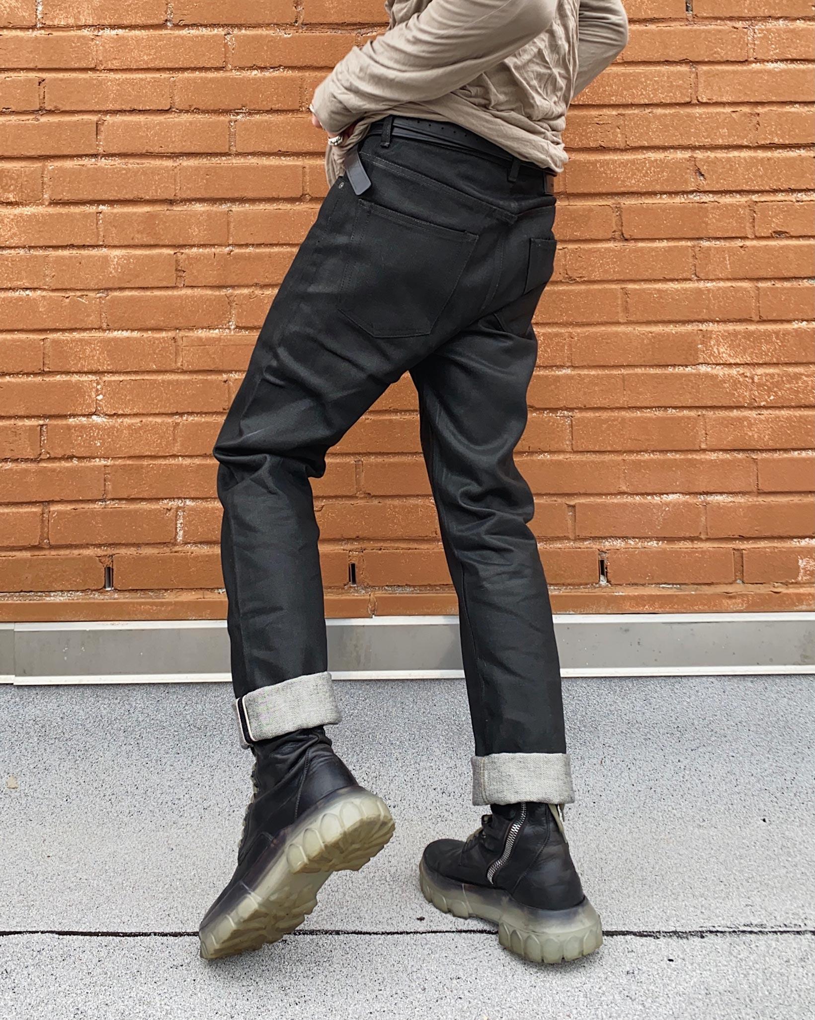 Rick Owens DRKSHDW Detroit Jeans - Made In Japan Black Waxed - Image 14