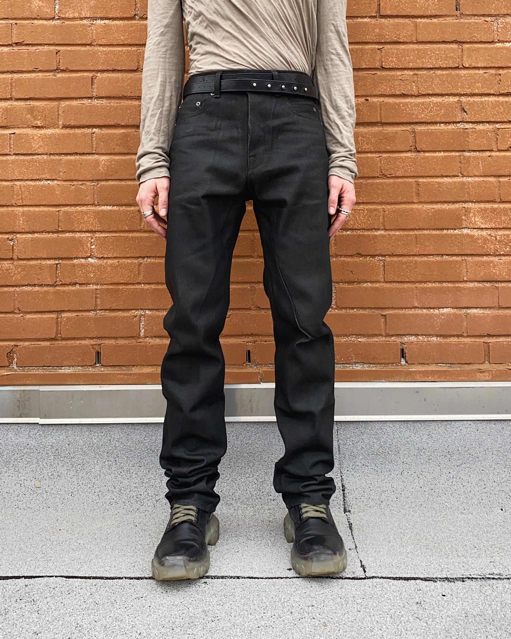 Rick Owens DRKSHDW Detroit Jeans - Made In Japan Black Waxed - Image 16